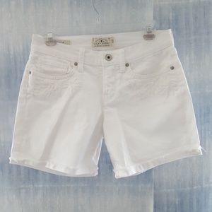 Lucky Brand White Denim Shorts Roll Up Size 26